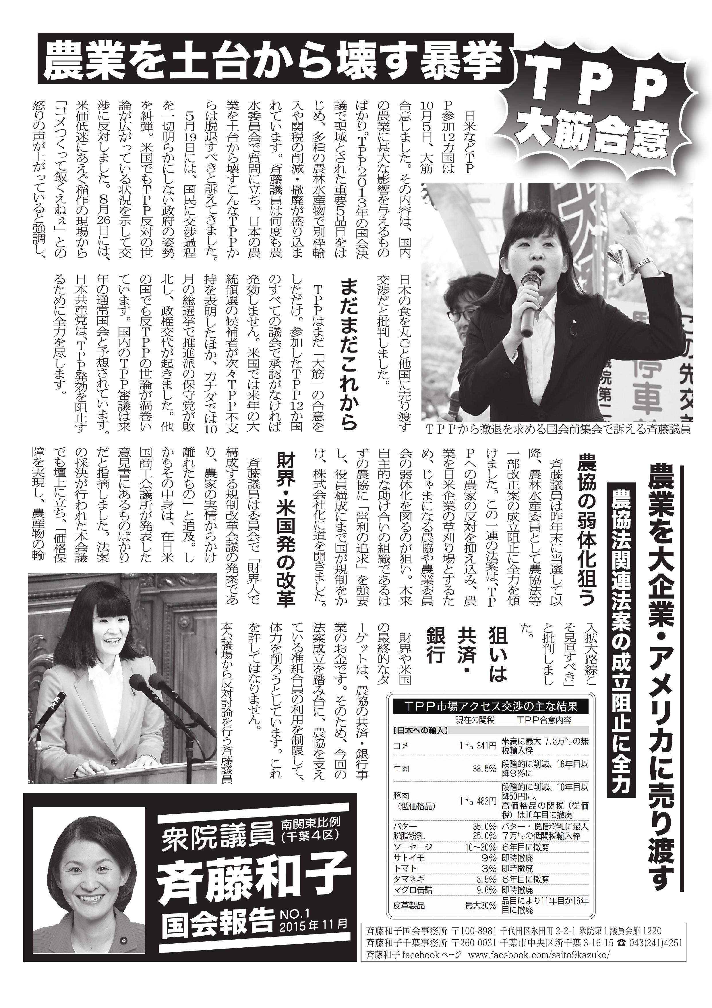 さいとう和子 国会報告 No.1